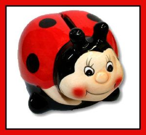 Ladybug Ceramic Piggy Banks These little ladybug ceramic piggy banks are approx. 4″L x 5″W x 4″H and has a gloss finish.  http://theceramicchefknives.com/ceramic-piggy-banks/  ATM Piggy Bank, Ceramic Piggy Banks, Disney Minnie Ceramic Piggy Bank, Disney Minnie Mouse,
