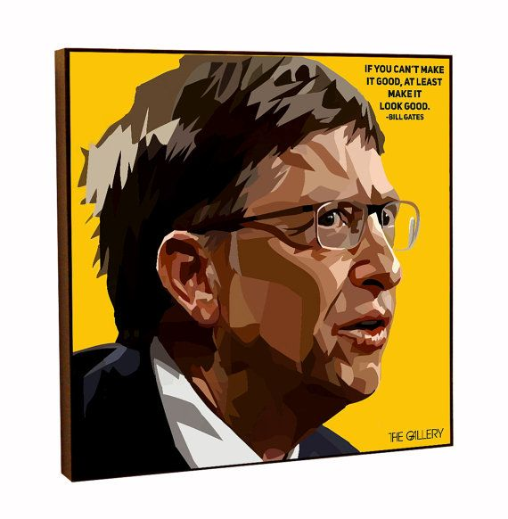Bill Gates Pop Art Print  Poster Canvas Quote Gift with Frame
