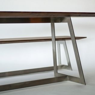 #ChristianKroepfl | #palatti series | #KT6 | table & banquette | tops american nut - oiled | frames - stainless steel