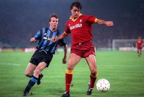 Lothar Matthaus E Thomas Berthold Durante La Finale Di Coppa Uefa 1990 1991 Tra Inter E Roma Lothar Matthaus Uefa Pokal Pokal