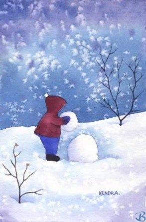 """Building a Snowman by Artist Kendra Dixson    Kid building a snowman during a snowy winter evening.     Available in Prints and Art Cards:  8""""x10"""" Print  11""""x14"""" Print  16""""x20"""" Print     6 Pack Cards  20 Pack Cards  50 Pack Cards"""