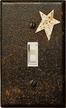 Primitive Switch Plate Cover - painted with a textured black paint, dusted with cinnamon and sealed - Sisters Country Marketplace