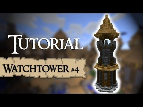 http://minecraftstream.com/minecraft-tutorials/minecraft-tutorial-how-to-build-a-medieval-watchtower-version-4/ - Minecraft Tutorial; How to build a medieval watchtower (Version 4)  A tutorial of a new designed medieval tower. If you have suggestions on what to do the next tutorial about, post them in the comments 🙂 List of materials: (for survival mode) 92 x  log 92 x  stone brick block 33 x  stone brick stair 33 x  cobblestone 61 x  cobblestone stairs 15 x  cobblestone.