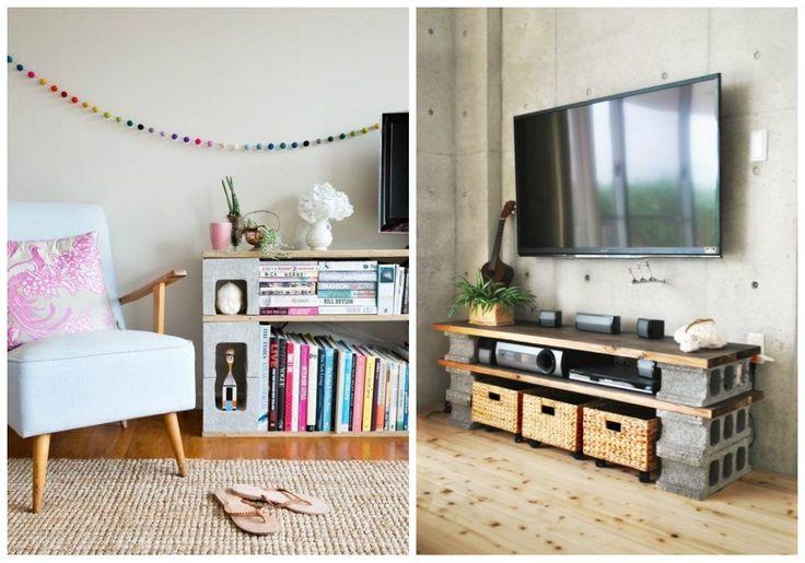 Decoración y muebles con bloques de hormigón. Cantidad de muebles de forma muy sencilla y económica con unos cuantos bloques de hormigón.