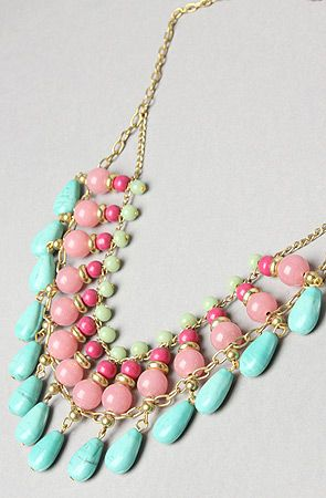 The Triple Layer Bib Necklace: Pastel Necklace, Colors Combos, Statement Necklaces, Beads Necklaces, Triple Layered, Fashion Accessories, Layered Bibs, Cute Necklace, Bibs Necklaces