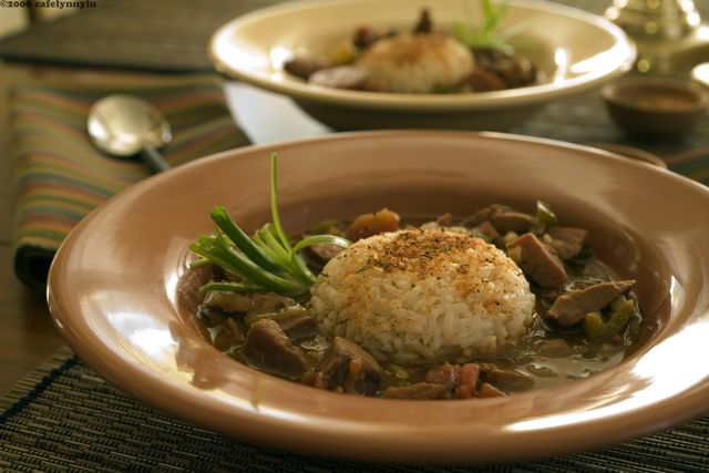 Cajun gumbo with shredded duck confit meat
