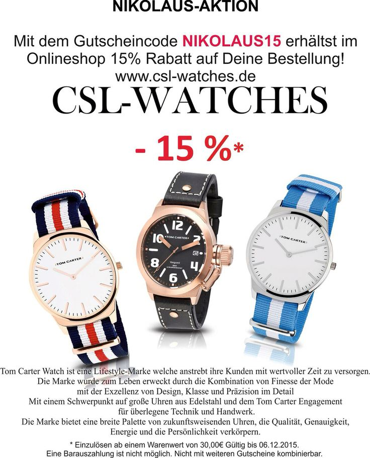Wer ein Nikolaus Geschenk noch sucht ist hier richtig! www.csl-watches.de