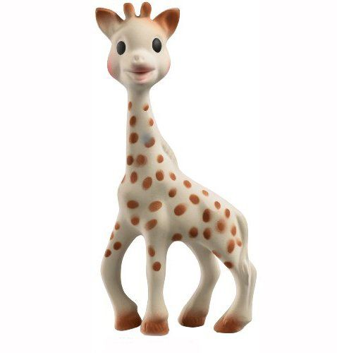sophie the giraffe review - baby must have for teething. and you can see my little girl munching on sophie too!