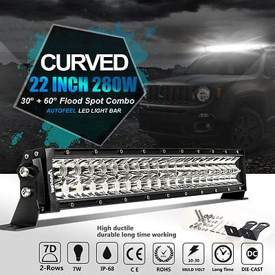 7D OSRAM Curved 22in 280W Led Work Light Bar Flood Spot Combo Offroad 4WD 24/20