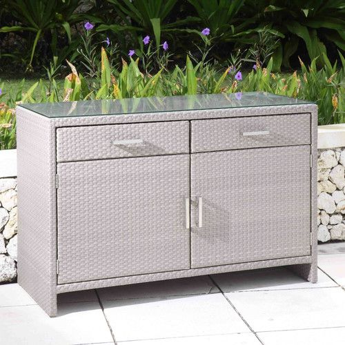 Awesome Outdoor Wicker Buffet Cabinet