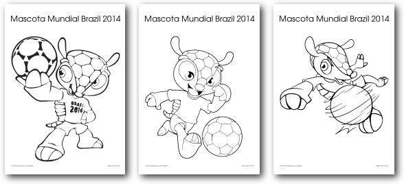 Mascota Mundial 2014 para Colorear