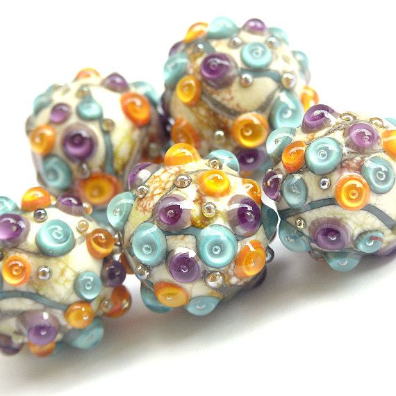 frolic handmade lampwork glass bead set