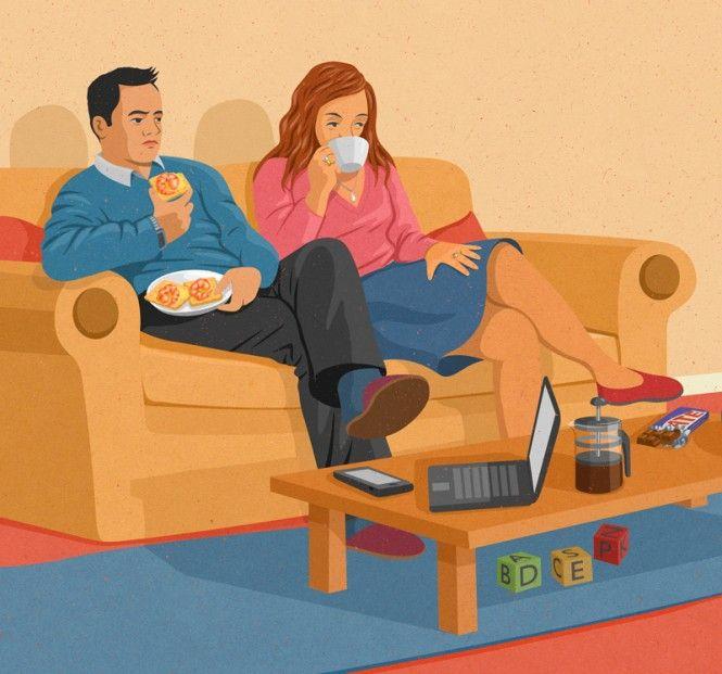John Holcroft Couple Couch Illustration