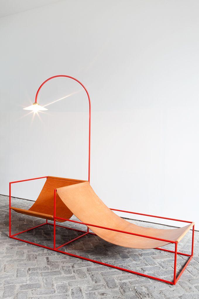 Zetel. Lamp is integrated into double lounger. Fien Muller & Hannes Van Severen.