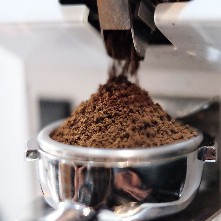 Freshly ground beans in a porta filter: A great cup of coffee about to happen.
