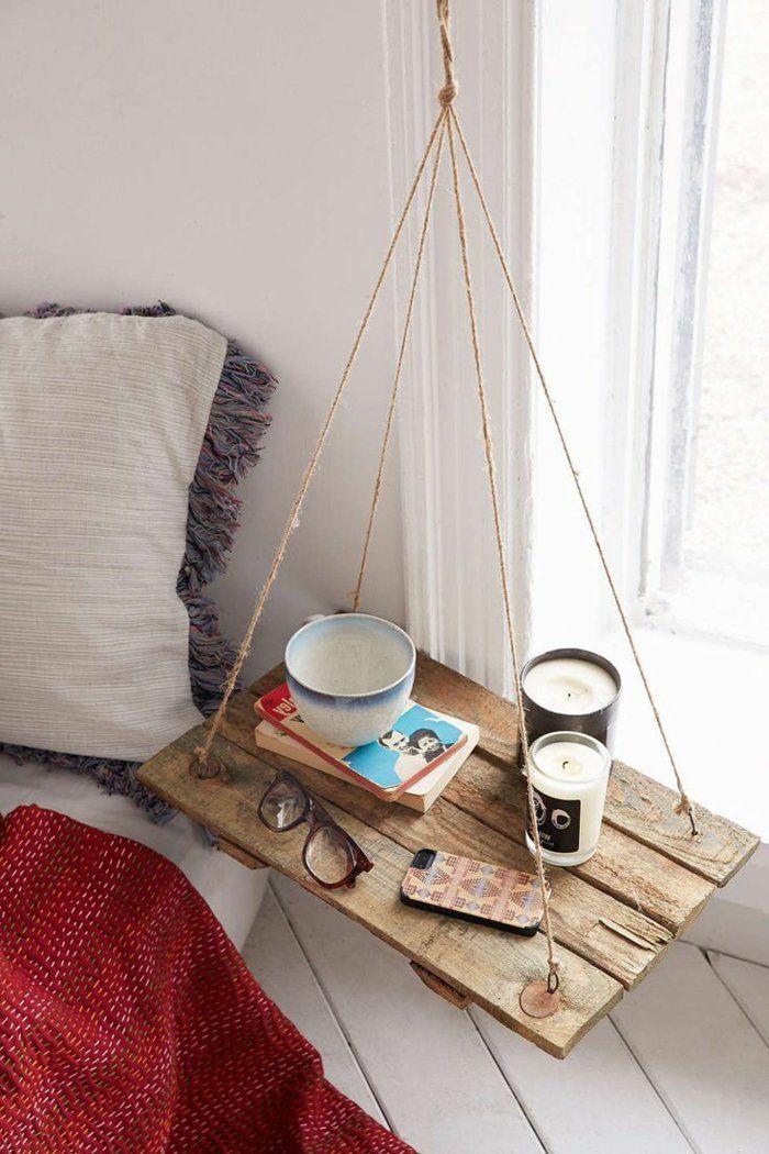 table de nuit suspendue, recyclage de meubles original