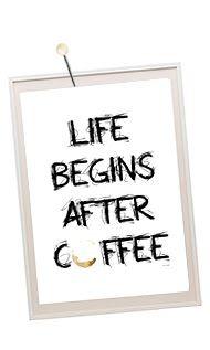 Fru N : BARNMOTIV Kaffetavla trycka tavla till köket Life begins after coffee