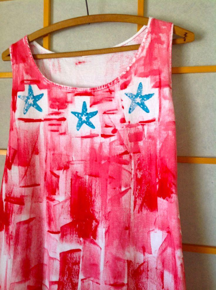 Hawaiian Dress - Cotton Summer Dress - Beach Dress - Hawaii Dress - Plus Size Sun Dress - Hand Painted A Line Dress -  Swim Suit Cover Up (60.00 USD) by PetrinaBlakely