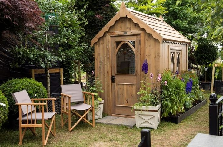 Gothic shed finished in natural