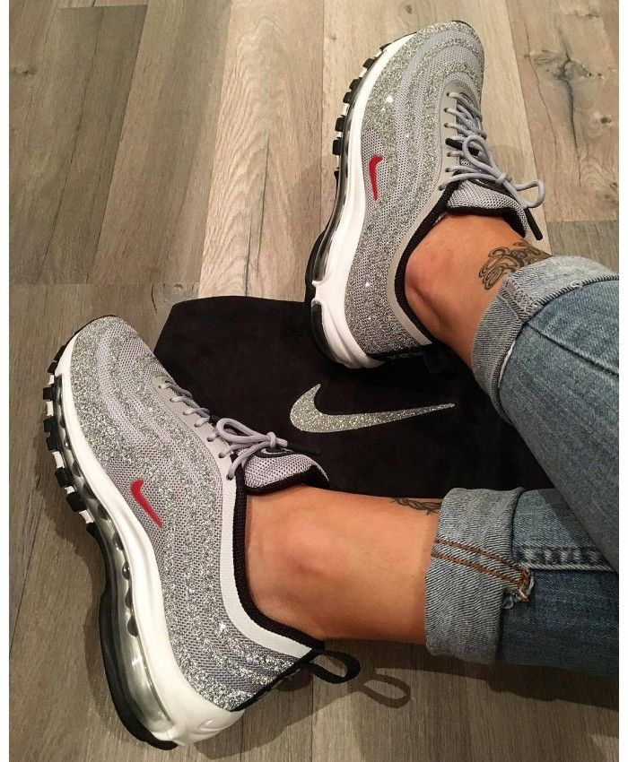low priced e0f83 c864f Nike Air Max 97 Trainers In Silver Bullet Swarovski Crystal