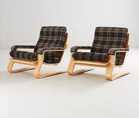 FÅTÖLJER, 1 par, 1970-tal, Bröderna Andersson, böjträ, sitthöjd ca 40 cm