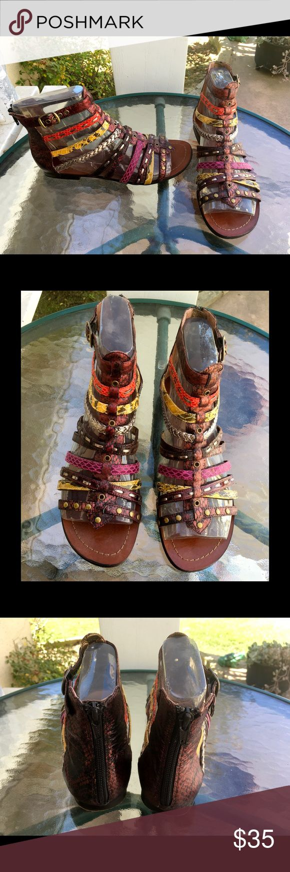 Aldo Strappy Leather Ankle High Back Zip Sandals Open toed flat sandals. EUR 39 US 9. Have 10 multi-color leather straps (some animal print). Top strap buckles; back zipper; above ankle. Gently worn! Excellent condition! Aldo Shoes Sandals