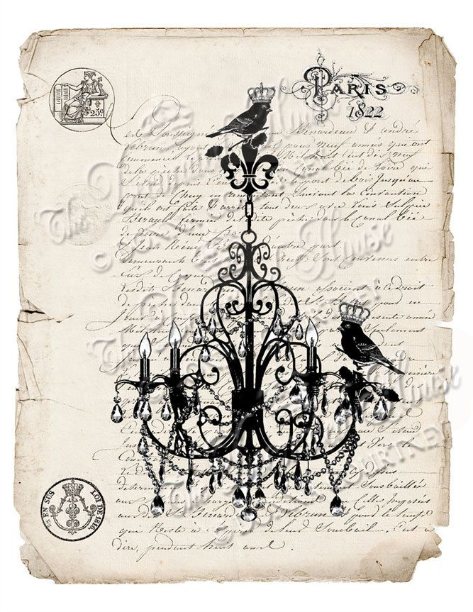 CHANDELIER with Crown Birds Antique French by TheDecoratedHouse