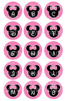 "free minnie mouse printables | Disney Minnie Mouse Alphabet Bottle Cap 1"" Circle Digital Download ..."
