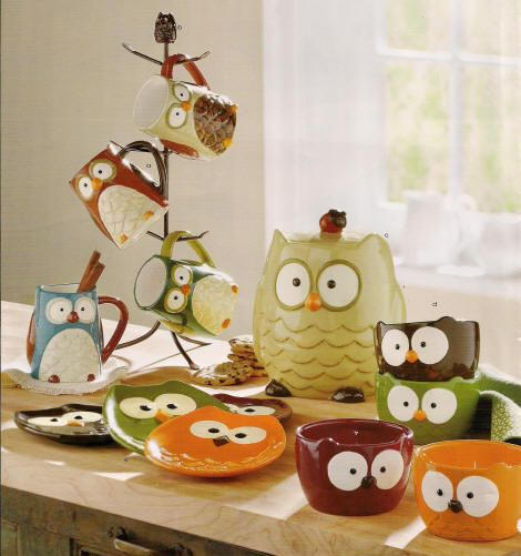 owl items | Hand painted earthenware with embossed detail