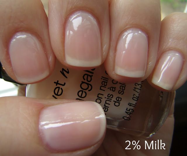 "Wet N Wild ""2% Milk"" This polish is so nice and clean looking!  A great formula too for a sheer.  This is slightly less white than Essie's ""Allure"", my favorite ""my nails but better"" polish:"
