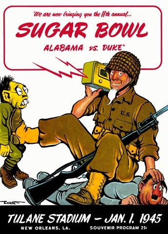 1945 Sugar Bowl Duke beats Alabama while Uncle Sam beats Tojo and Hitler. HistoricFootballPostersBlog.com
