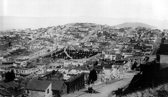"Telegraph Hill and Washington Square. The castle atop the hill was known as ""Layman's Folly"" (1883-1903) Photo: Greg Gaar Collection, San Francisco, CA Telegraph Hill is one of the most famous hills in the world, as well-known as Sugar Loaf in Rio de Janeiro, and a visual landmark to sailors entering the Bay since its European discovery by Capt. Juan Manuel de Ayala in the San Carlos on August 5, 1775."