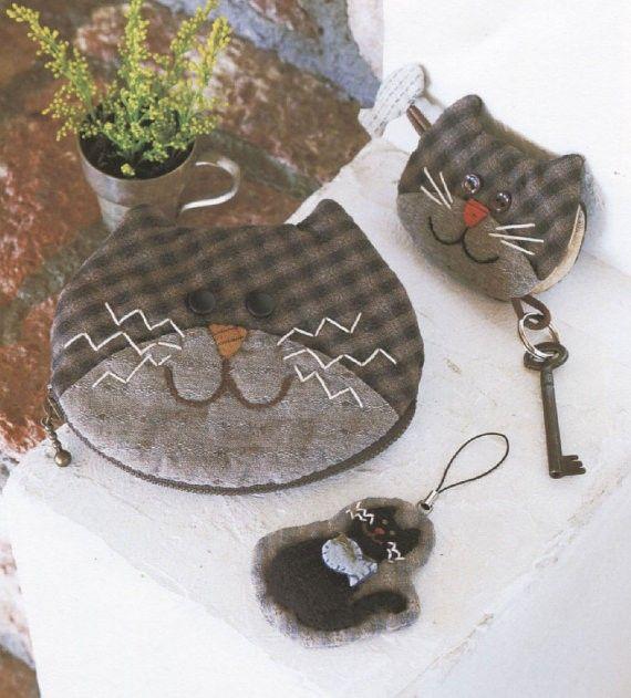Set de chat porte-monnaie sac cosmétique portefeuille gaming couverture Touche broderie anneau couture applique patchwork motif PDF E Pat ...
