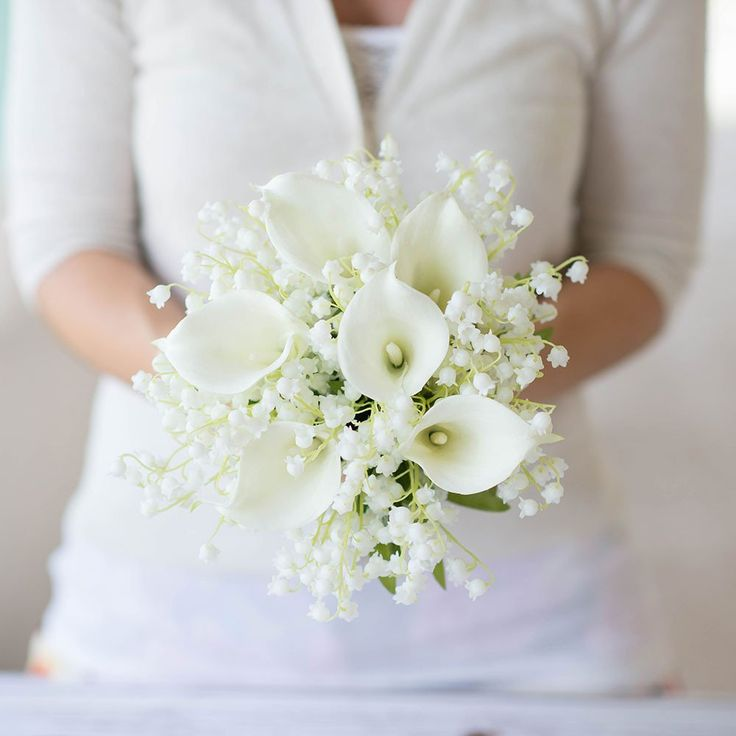 Real Touch Hand-Tied Calla Lily Wedding Bouquet in White - 14in. Tall