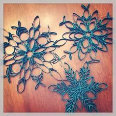 Toilet paper roll snowflakes - spray paint blue and sprinkle with silver glitter