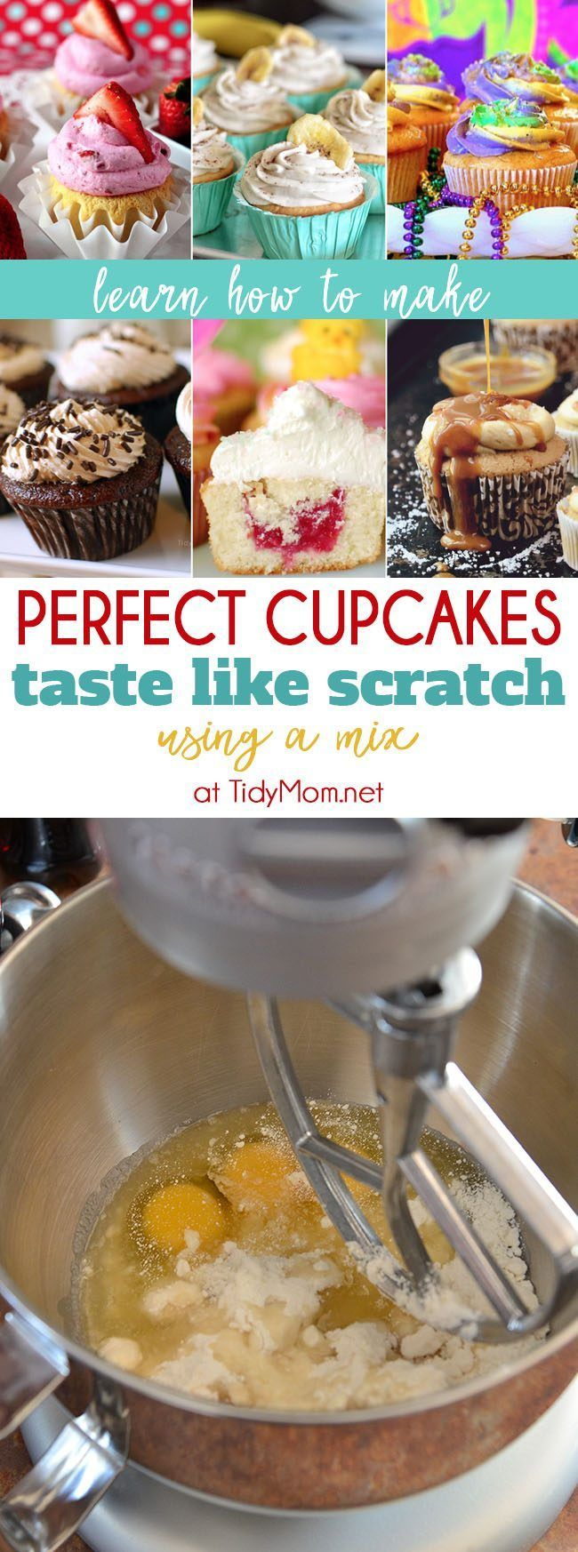 Perfect Cupcake Recipe using a box mix is my all time favorite, go to recipe for cupcakes. You can use this trick to make a box cake mix taste like scratch. Learn more at TidyMom.net