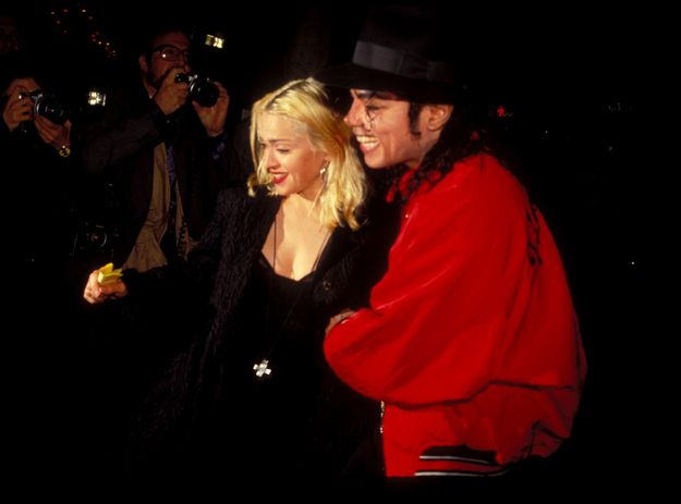 Michael and Madonna at The Ivy Restaurant April 9, 1991. God he is so hot in red!