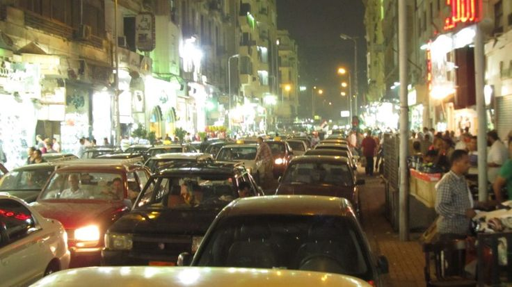 Bumper to bumper traffic ,crazy night time shopping in Cairo old district