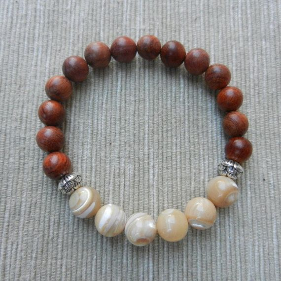 Mala bracelet Natural Mother of Pearl Rose wood by PureLapis