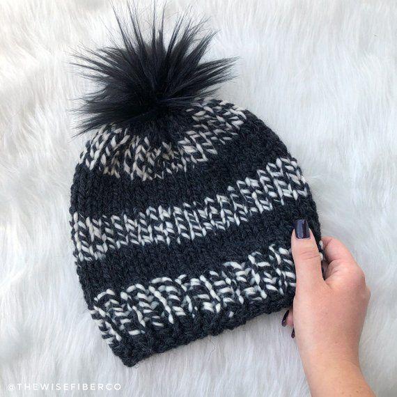 a23e17bb471 Chunky Dark Grey and Off White Women s Knit Winter Beanie Hat w  Faux Fur Pom  Pom