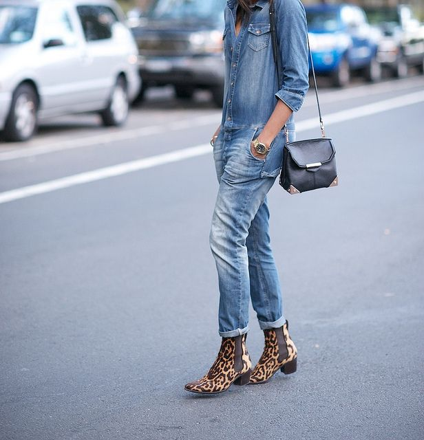 Denim onesy with leopard boots