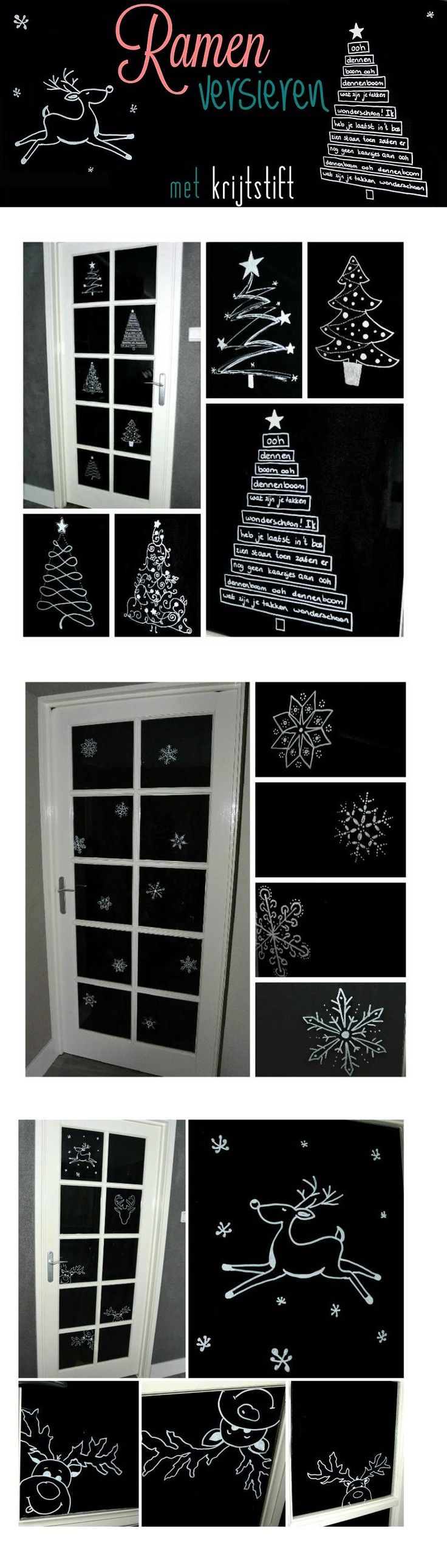 Deuren versieren met krijtstift: kerstdeuren! http://simplethoughts.nl/ramen-versieren-met-krijtstift/