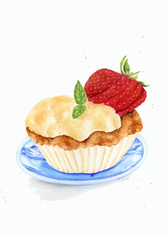 ORIGINAL Painting Strawberry Custard Cupcake by ForestSpiritArt, £22.00