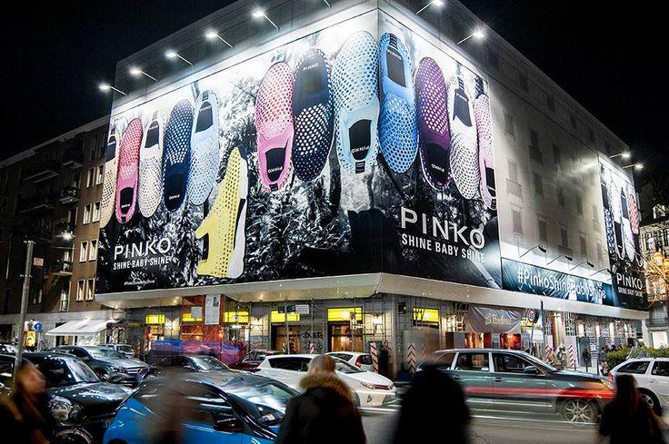 PINKO Shine Baby Shine sneakers highlighting Largo La Foppa in the heart of Milano