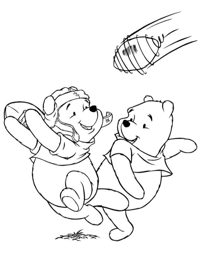 pooh bears playing football coloring page