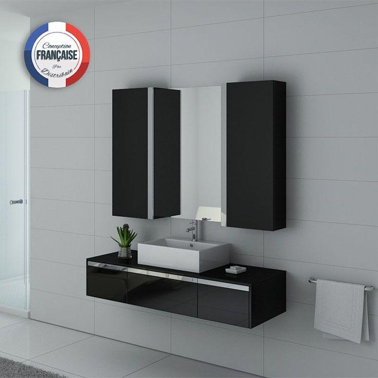 frez  votre salle de bain un ensemble simple vasque au design contemporain et pleind e rangements dans son coloris gris taupe laqué tr¨s moderne
