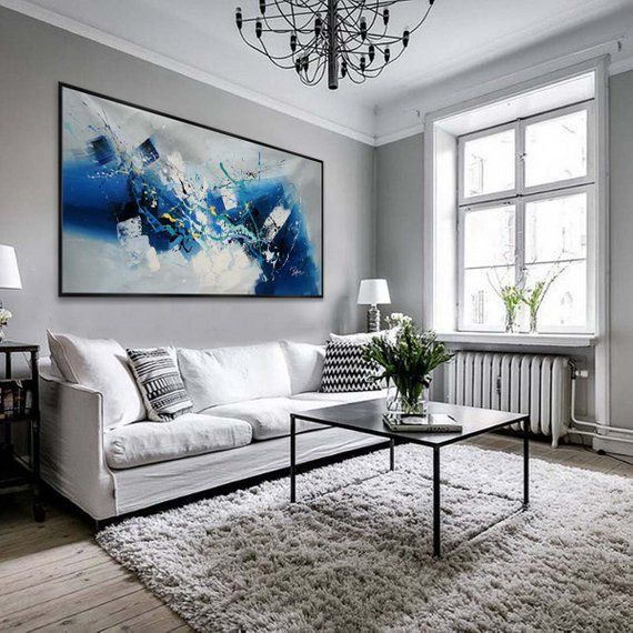 Abstract Contemporary Horizontal Modern Painting Hand Acrylic Etsy Large Abstract Wall Art Panoramic Wall Art Abstract Wall Art