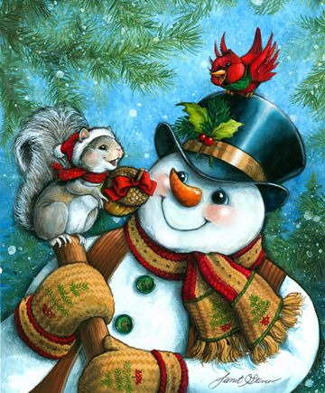 Just for You by Janet Stever ~ Christmas ~ winter ~ snowman ~ squirrel ~ cardinal