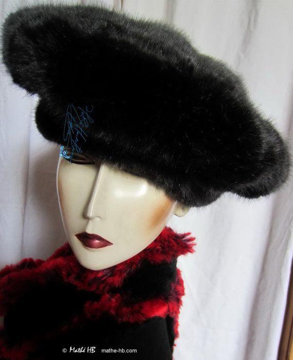 béret bonnet hiver sur commande fourrure par MatheHBcouture sur Etsy