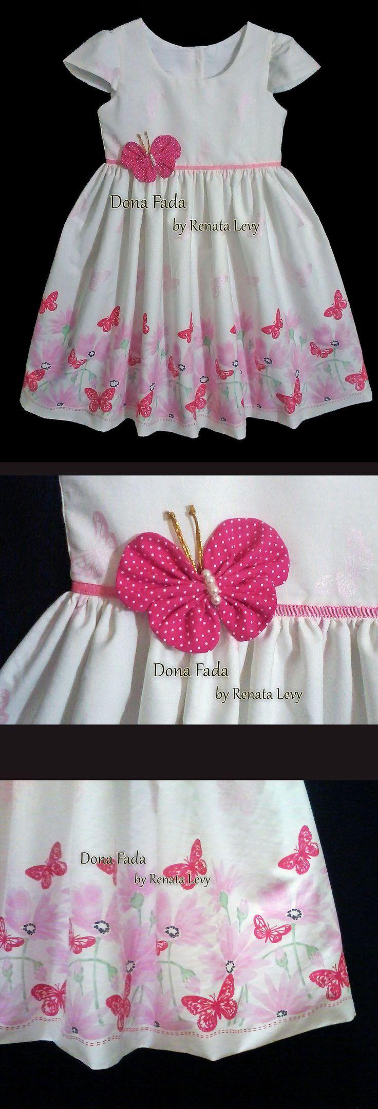 Vestido Barrado Borboletas - 7 anos  - - - - - baby - infant - toddler - kids - clothes for girls - - - https://www.facebook.com/dona.fada.moda.para.fadinhas/